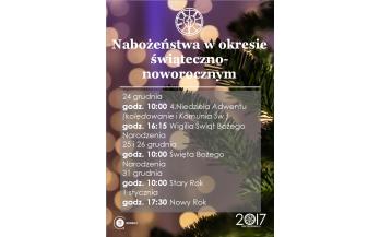 Nabożeństwa w Święta i Nowy Rok